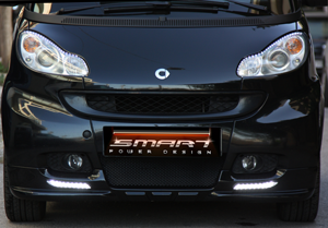 Smart Fortwo Front Spoiler with Daytime Running Lights in Black color.