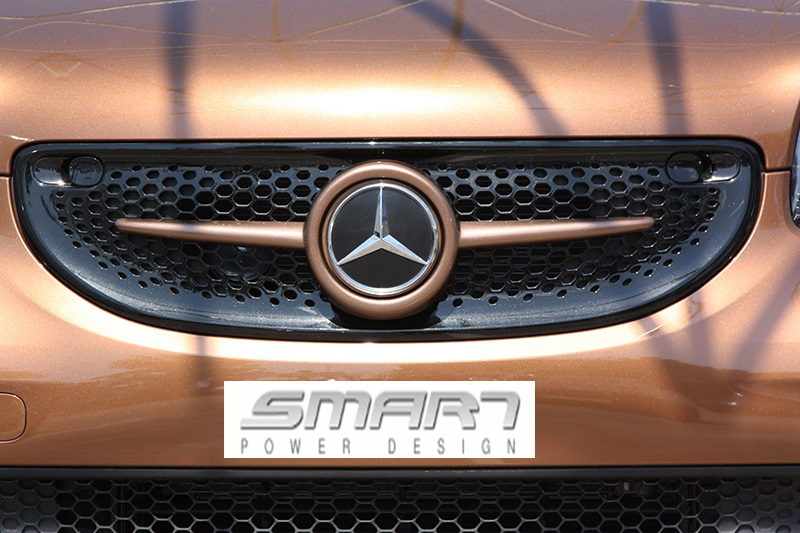 This is the Front Grille for Smart Fortwo 453. Its color is Hazel Brown Metallic and it has Mercedes Emblem.