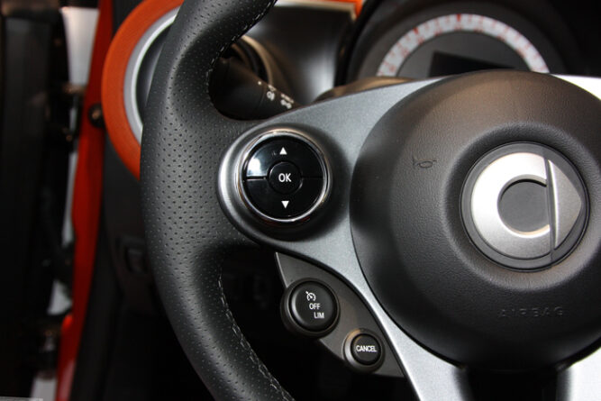This is the Left Chrome Ring for the Steering Wheel of your Smart Fortwo 453.