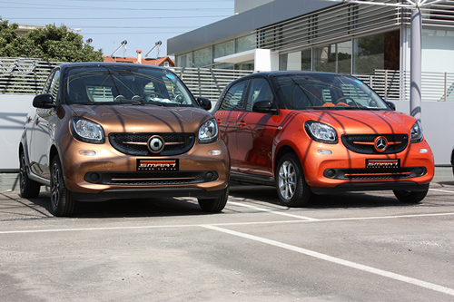These are the new Smart Forfour 453 car tuned by Smart Power Design. The Front Grille and the Trim Strip Piece are installed on them.