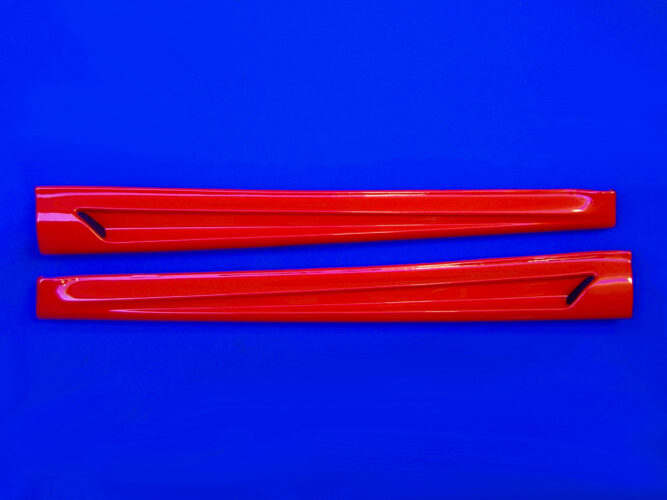 These are the Side Skirts for the new Smart Fortwo 453 in Jupiter Red finish. Available to you by Smart Power Design.