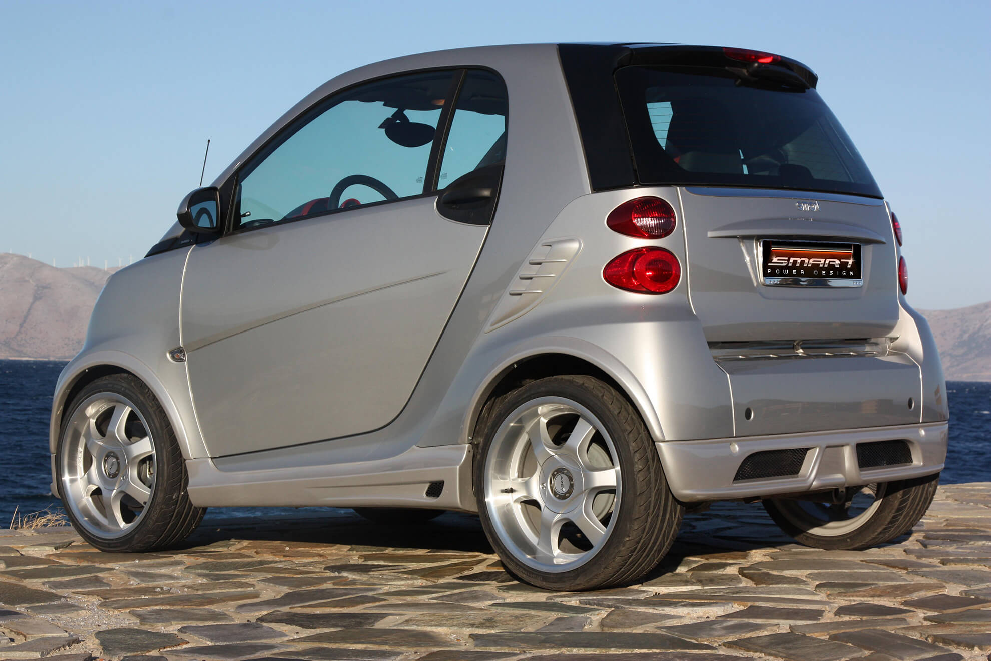 This is the Smart Fortwo 451 from the rear view. It is tuned by Smart Power Design.